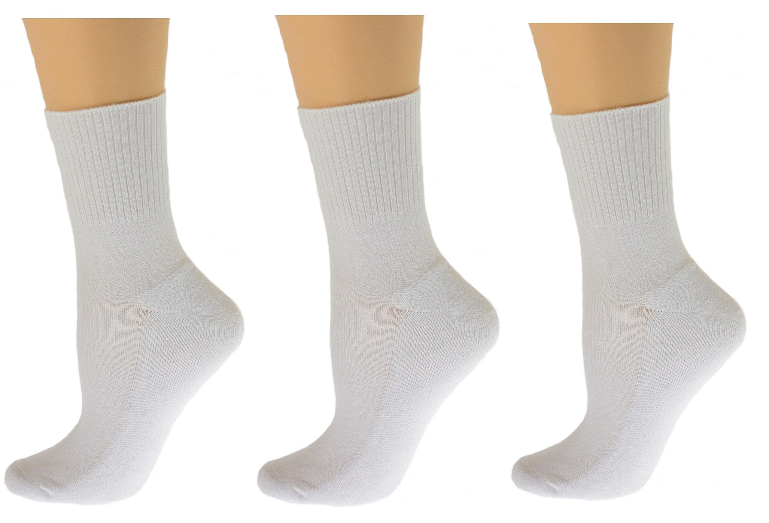 Sierra Socks Diabetic Arthritic Womens Ankle Cushioned Sole Smooth Toe 3 Pair Pack (9-11, White)