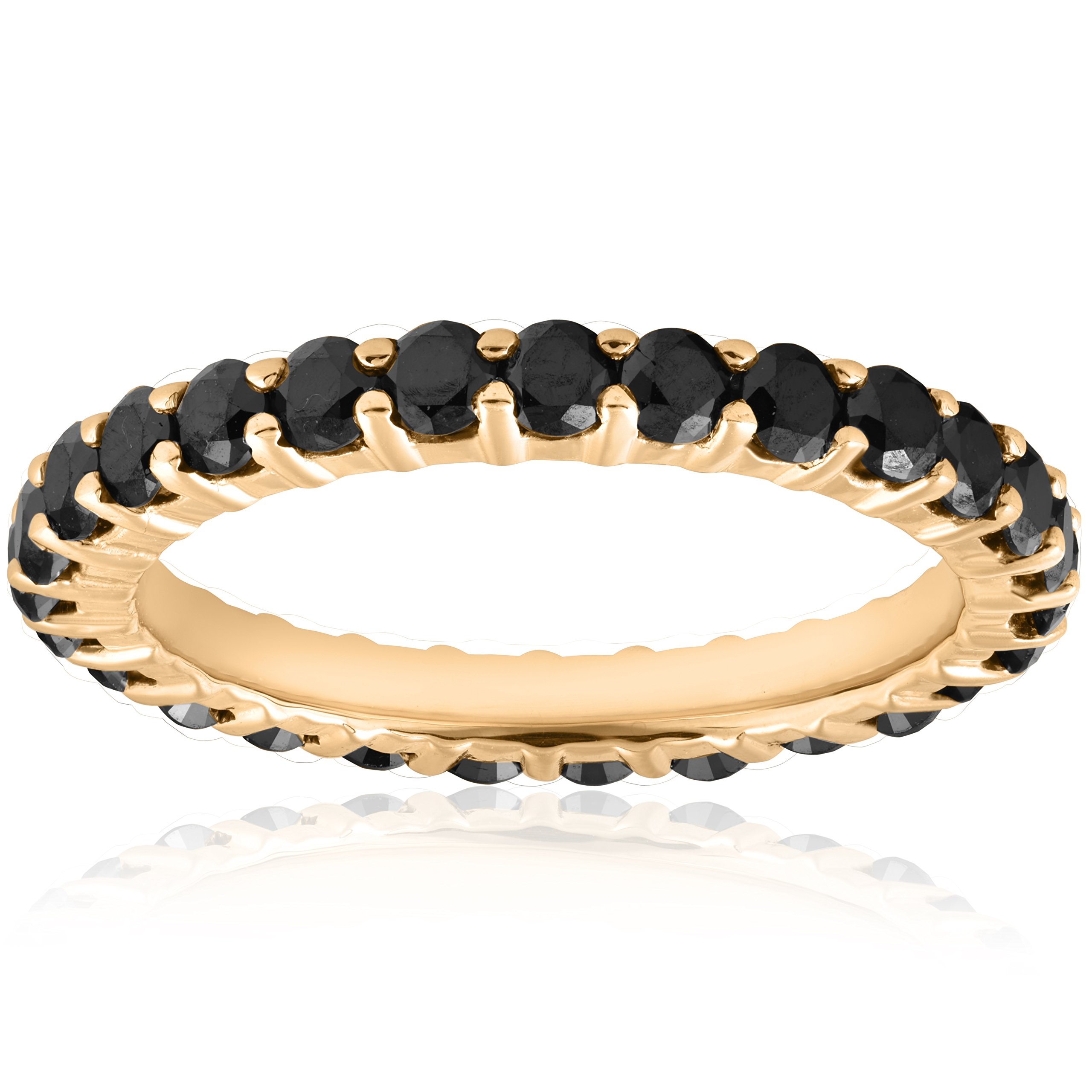 1 1/2ct Black Diamond Eternity Ring 14k Yellow Gold Womens Stackable Band - Size 7