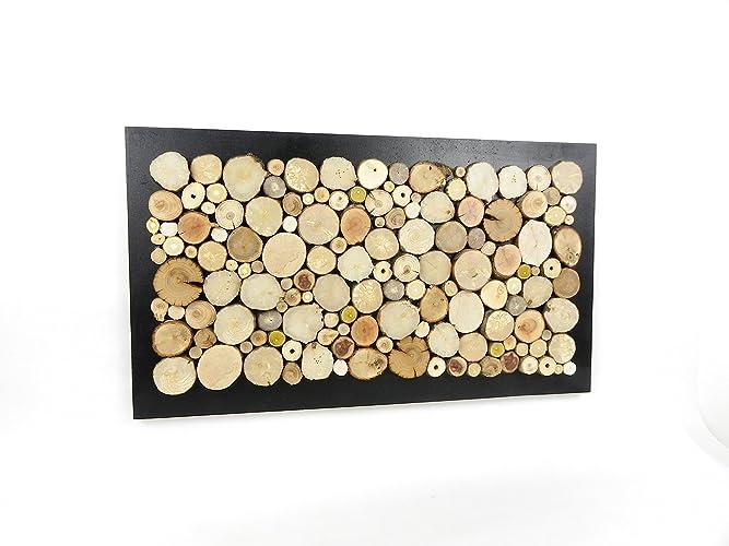 Tableau abstrait design fait main avec des rondelles de bois, décoration  murale en bois,