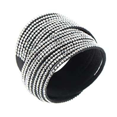 Rivertree Slake Style Crystal encrusted Multi strands Layered Wrap Bracelet cNjosQd1