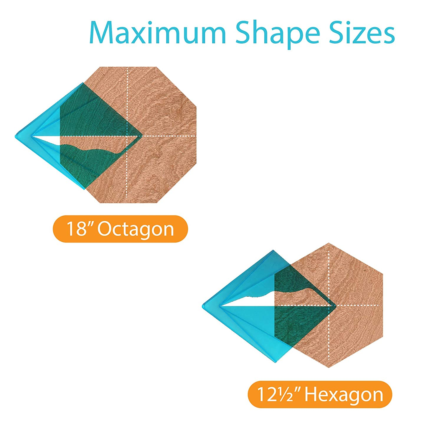 Carpenters or Around the Home Octagon and Hexagon Shaped Material up To 18 Inches Ideal For Woodworkers Blue Transparent Center Finder and Yellow Transparent Center Finder for Square Round