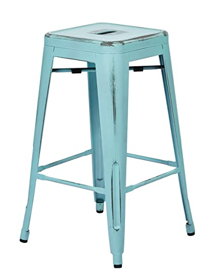 Office Star Bristow Antique Metal Barstool, 26 Inch, Antique Sky Blue, 4