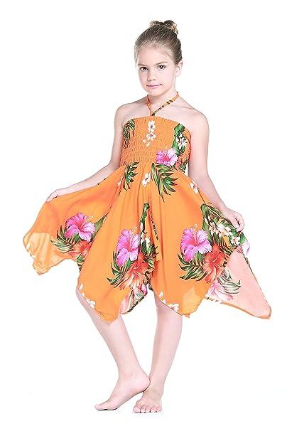 Niña gitano Botón desigual Hawaiian Luau vestido en naranja 4