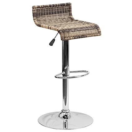 Tremendous Flash Furniture Contemporary Wicker Adjustable Height Barstool With Chrome Base Squirreltailoven Fun Painted Chair Ideas Images Squirreltailovenorg