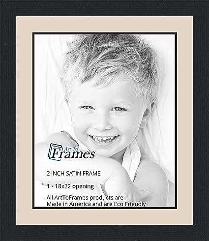 Amazon.com - 18x22 / 18 x 22 Picture Frame Satin Black .. 2\'\' wide ...
