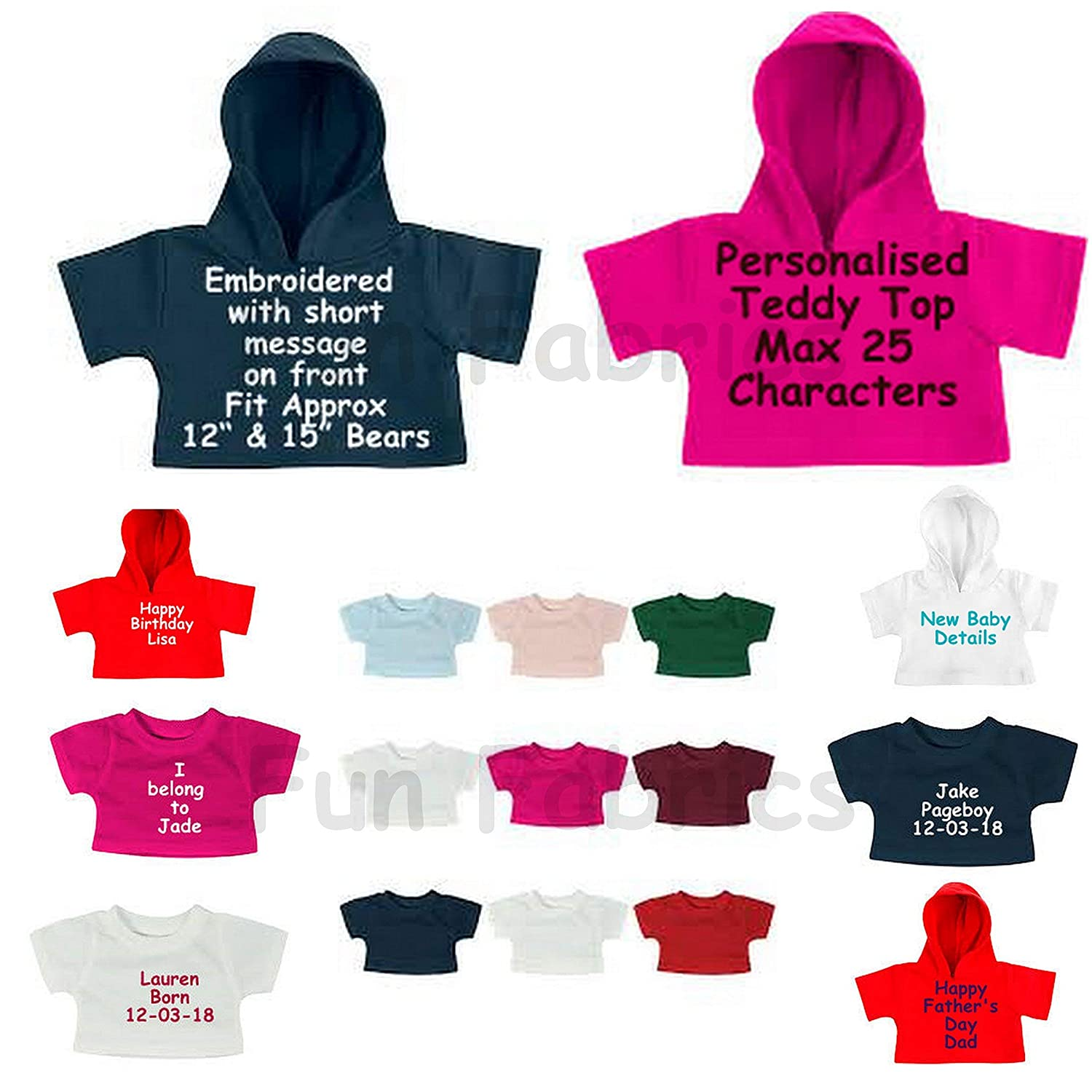 d705a9a7 Personalised Teddy Bear Clothes T-Shirts and Hooded Tops to fit 15
