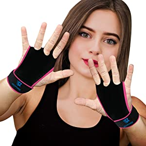 QUOPOWER Hand Grips Workout Gloves with Wrist Wraps for Crossfit, Weightlifting, Pull-Ups, Gymnastics, Kettlebells – Premium Wrist Support & Hand Guard to Prevent Blisters & Sprains for Men & Women