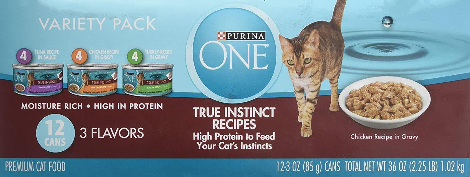 Purina ONE Wet Cat Food Variety Pack, Tuna, Chicken and Turkey Recipes, (12) 3 Oz Cans