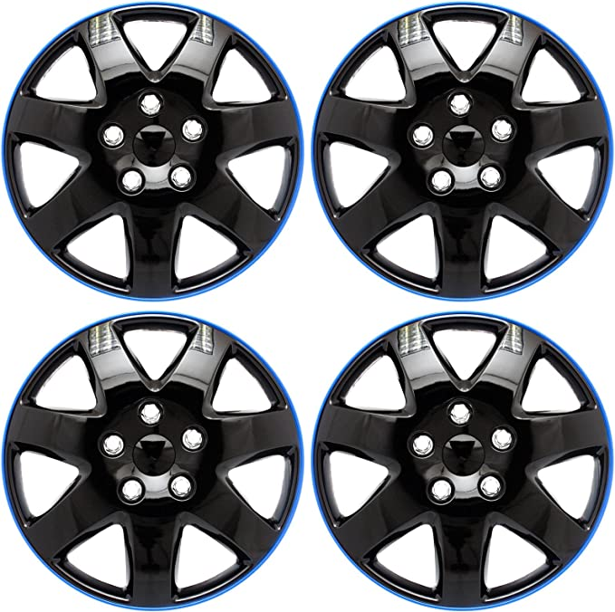 "SET OF 4 15/"" Hub Caps Full Wheel Covers Rim Lug Cover Hubs 7 Spokes Metal Clip"