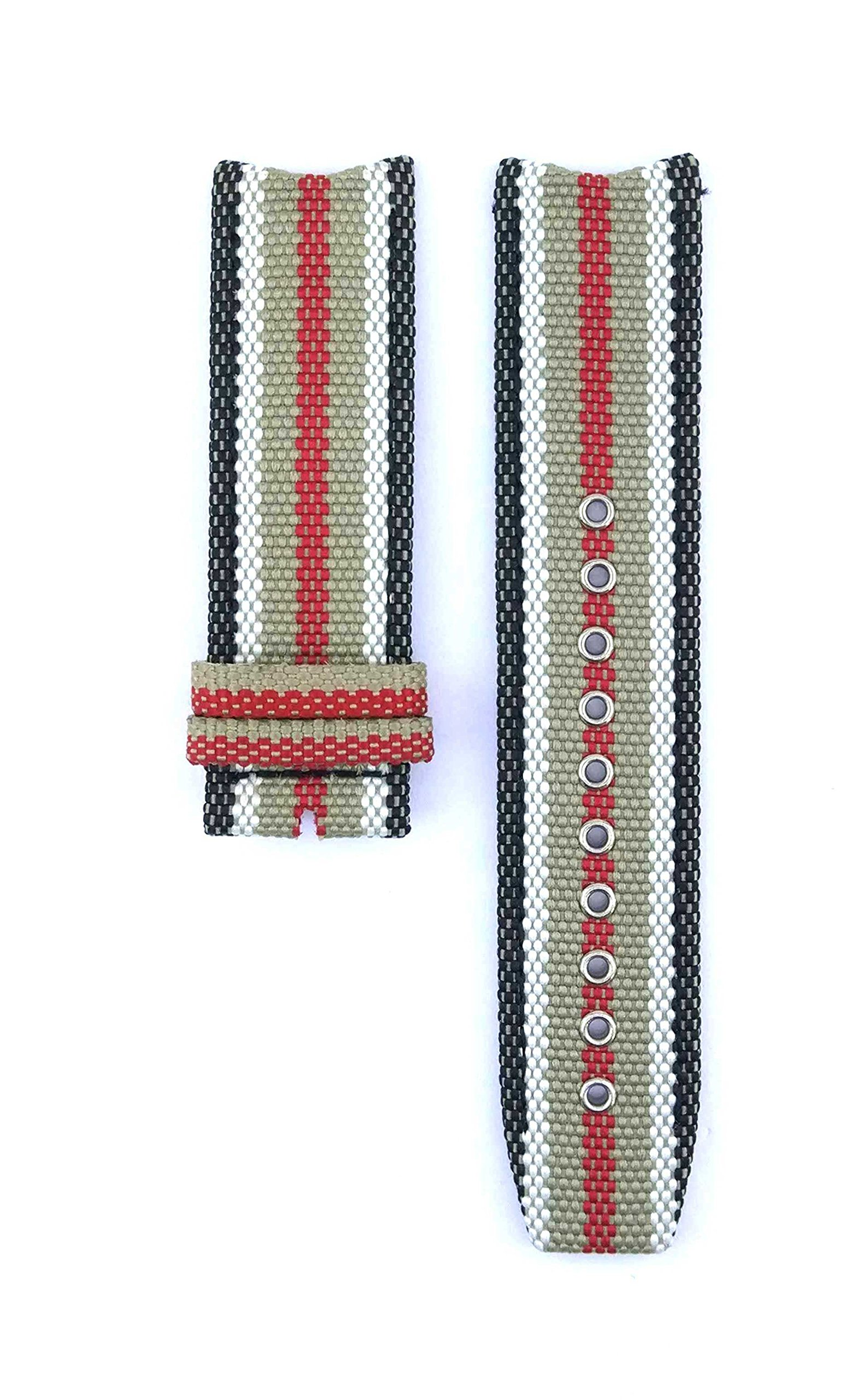 22mm Multicolor Textile Plated Leather Watch Band Strap For Endurance Chronograph BU7601 Watches 473BRR
