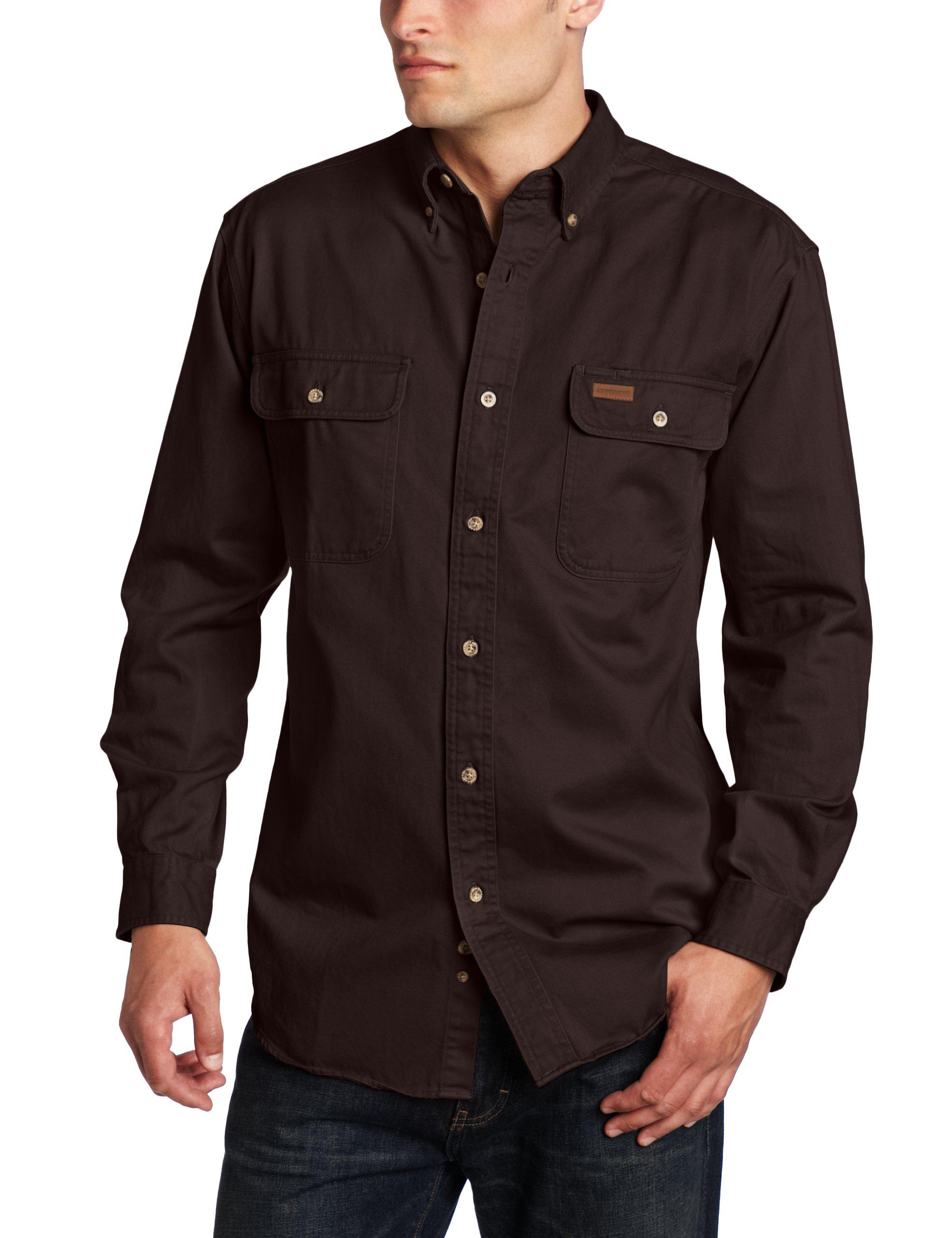 Carhartt Men's Oakman Sandstone Twill Original-Fit Work Shirt, Dark Brown, Regular XX Large by Carhartt (Image #1)