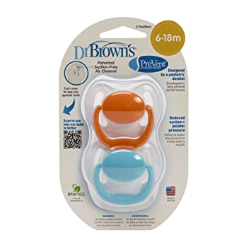Dr Brown s prevent chupete 6/ A 12/ meses, color azul, pack de 2