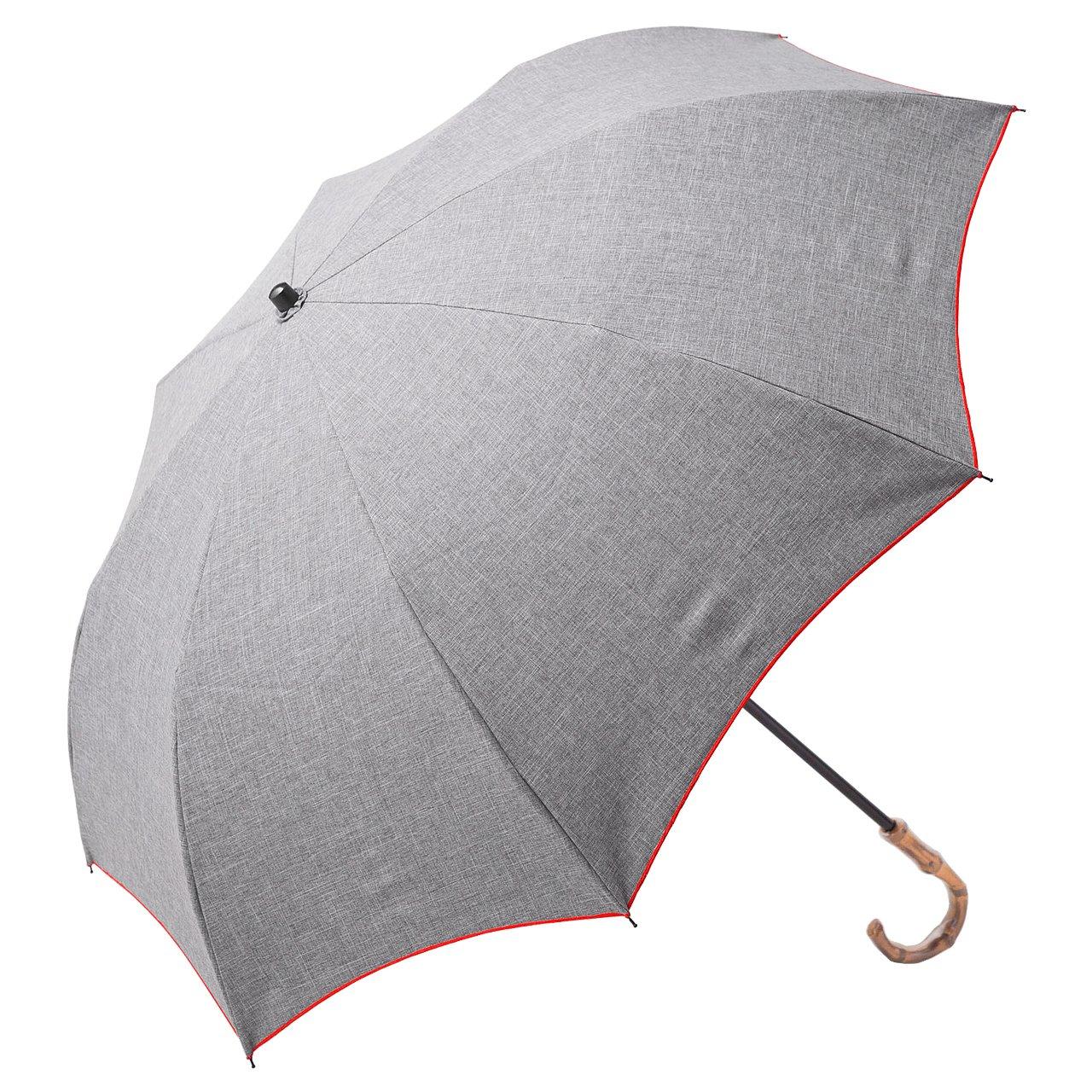 【Rose Blanc】100%完全遮光 日傘 晴雨兼用 プレーン 2段折りたたみ ダンガリー (傘袋付)50cm (ダンガリーグレー×レッドステッチ) B06XT1QPQNダンガリーグレー×レッドステッチ