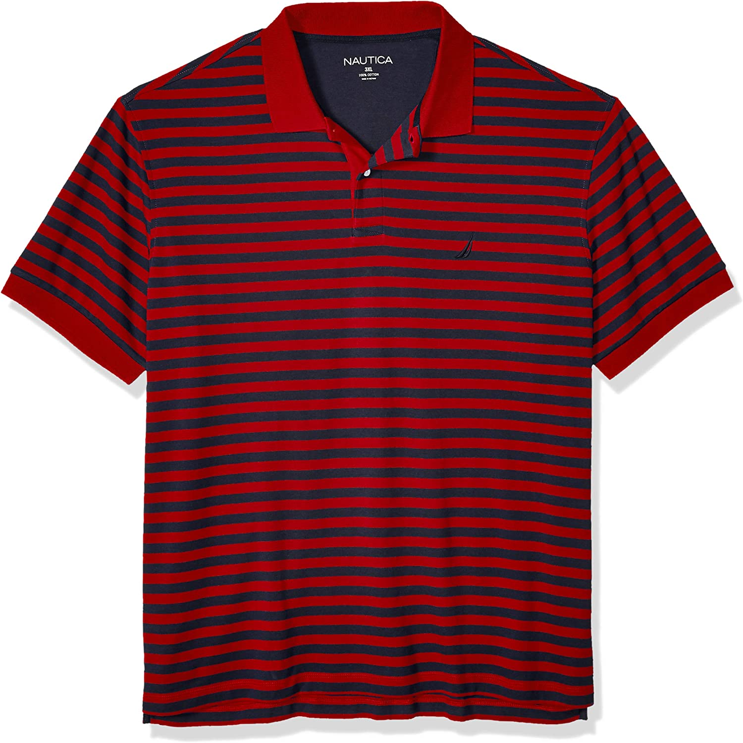 Nautica Mens Big and Tall Classic Fit Short Sleeve 100/% Cotton Stripe Soft Polo Shirt