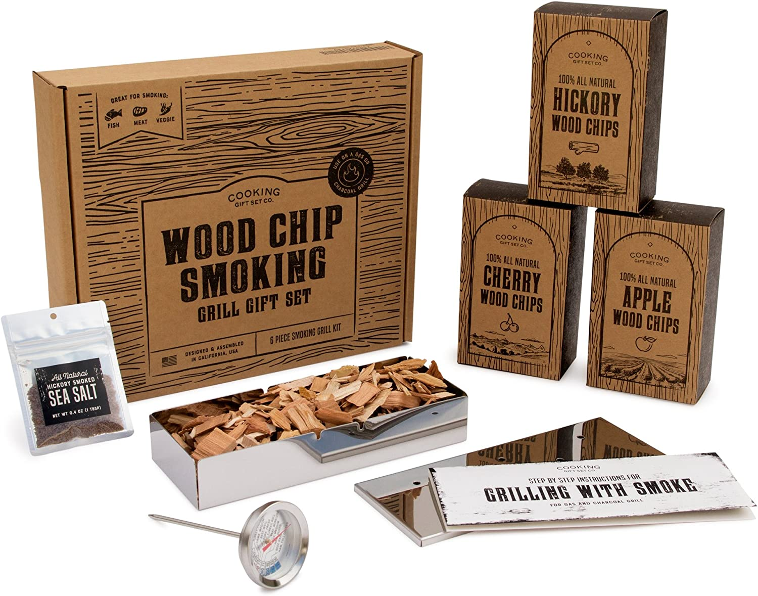 Cooking Gift Set Wood Chips for Smoking and Grilling Box Set 6 PC BBQ Accessories Perfect for Birthday Gifts for Men, Anniversary, Housewarming Gifts