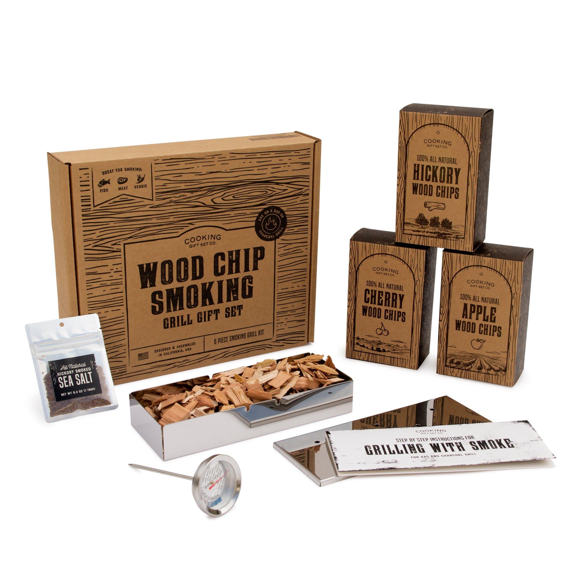 Cooking Gift Set | Wood Chips for Smoking and Grilling Box Set (6 PC) | BBQ Accessories Perfect for Birthday Gifts for Men, Anniversary, Housewarming Gifts by Cooking Gift Set