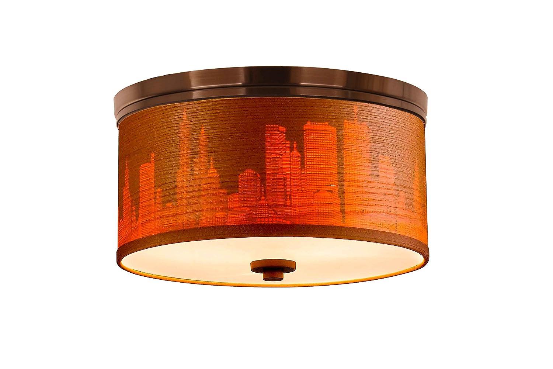 Brulee Cityscape Woodbridge Lighting 15830STN-SV115AB Hudson Veneer Shade Flush Mount