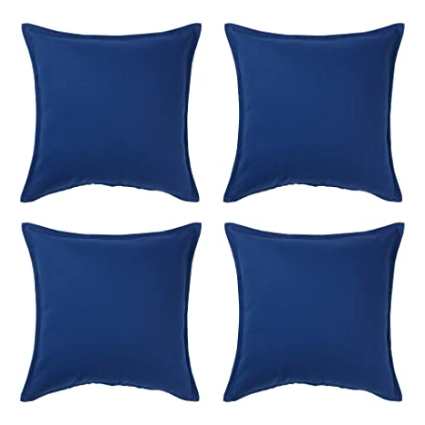 Ikea Gurli - Funda de cojín (100% algodón, 50 x 50 cm, 4 Unidades), Color Azul Oscuro