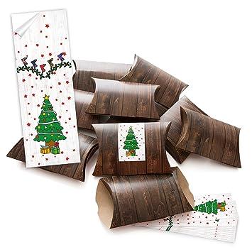 25 Kleine pequeñas cajas de regalo marrón efecto madera (14,5 x 10,