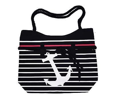 Sale best anchor black white lined canvas nautical theme tote bag sale best anchor black white lined canvas nautical theme tote bag zipper rope handle beach negle Images
