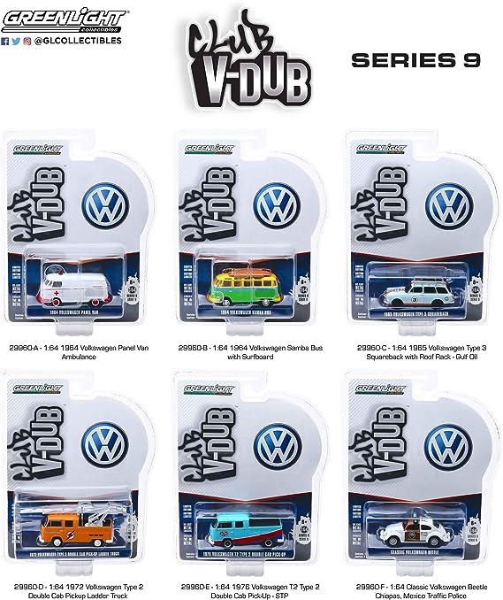 Greenlight 1//64 Club VDub 9 1964 Volkswagen Samba Bus w// Surfboards 29960B