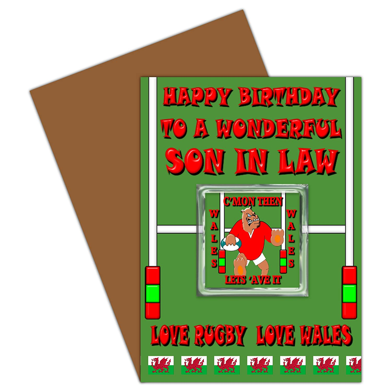 Son In Law Happy Birthday Card With Removable Magnet Gift Welsh