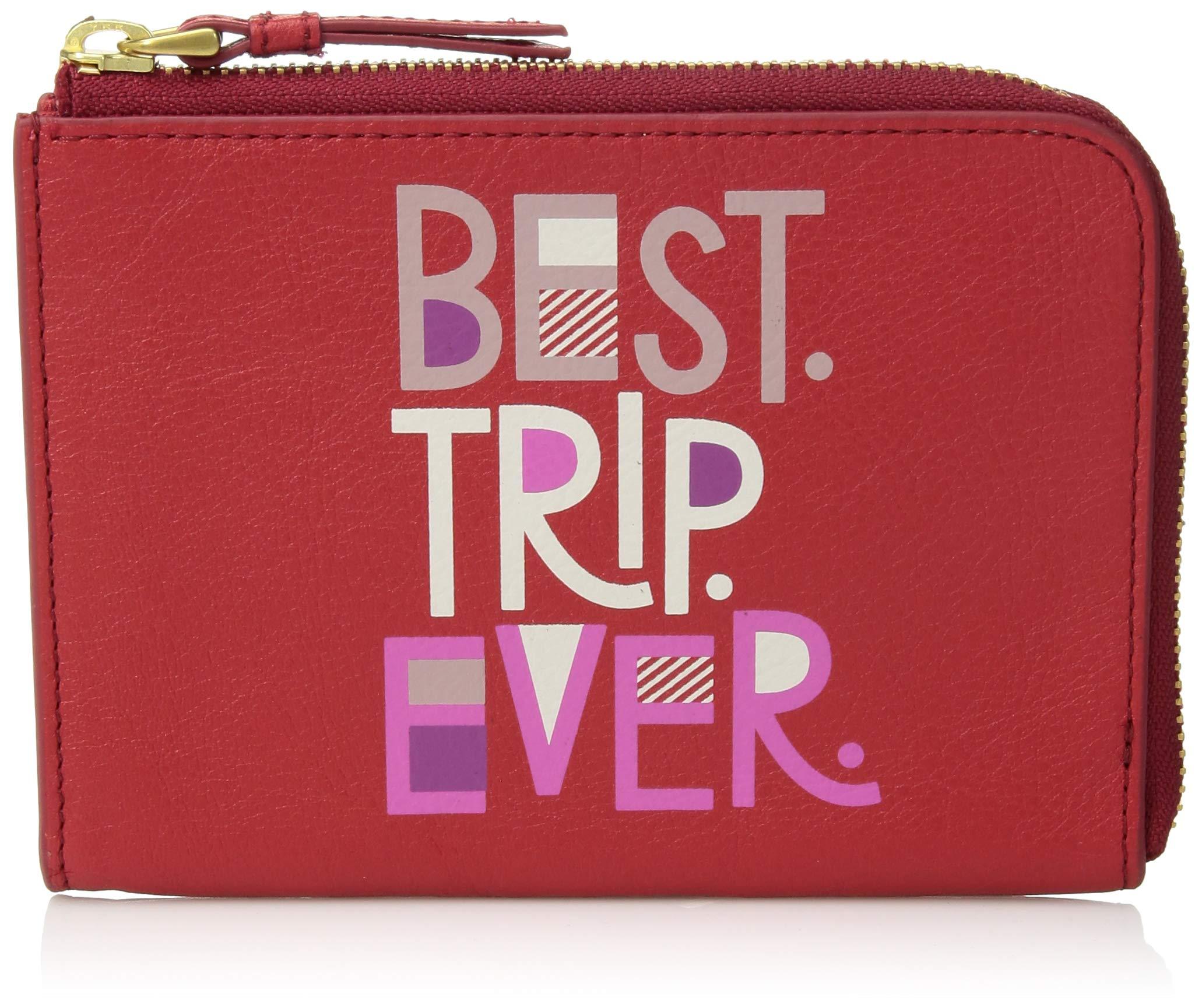 Fossil RFID Passport Zip Around Poppy Red