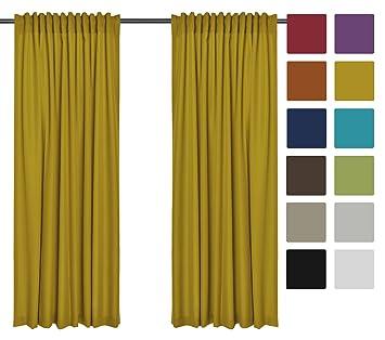2er Set Einfarbige Verdunkelungsvorhänge Blickdicht Verdunklungsvorhängen  (RENO Gelb Dunkel 71, 140x150 Cm   BxH