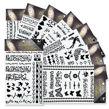 Amazon Com 8 Sheets Black Temporary Tattoos Kinghorse Fake
