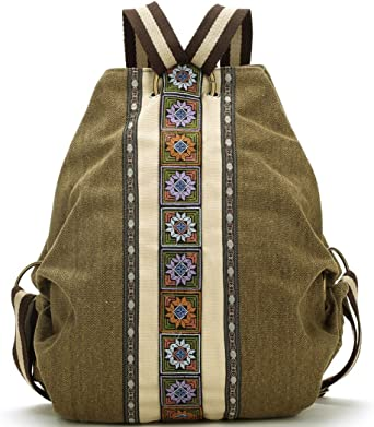 Women Vintage Backpacks for Girls Khaki Rucksack Shoulder Bag Designed Backpack