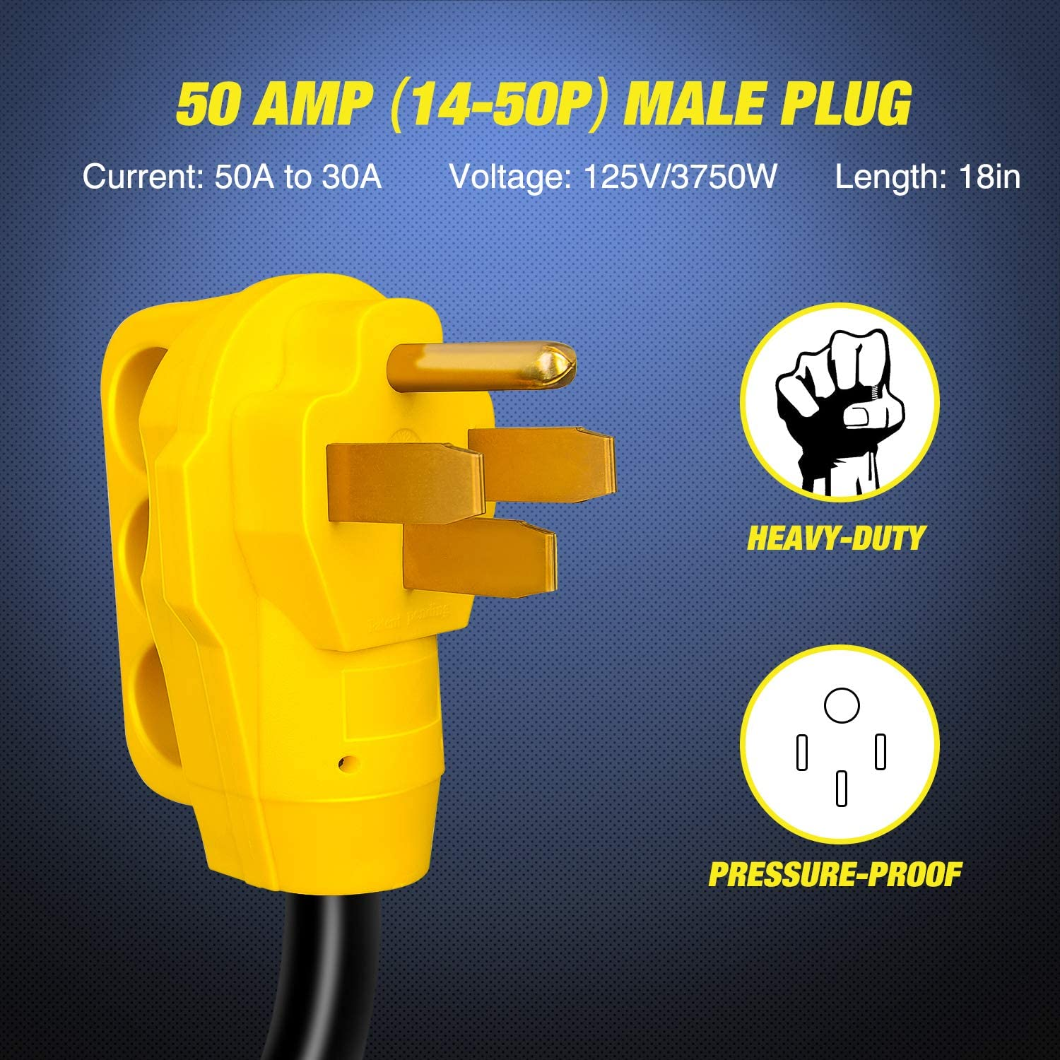 Nilight 18 inch 50 Amp to 30 Amp RV Plug Adapter Heavy Duty Dogbone Electrical Adapter with Handle 50A Male to 30A Female Cord Adapter 125V//3750W,2 Years Warranty