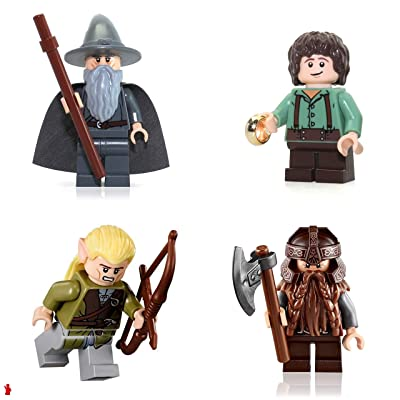 Lego the Lord of the Rings Minifigure Combo - Gandalf the Gray Wizard, Legolas, Gimli, and Frodo Baggins (With the One Ring): Toys & Games