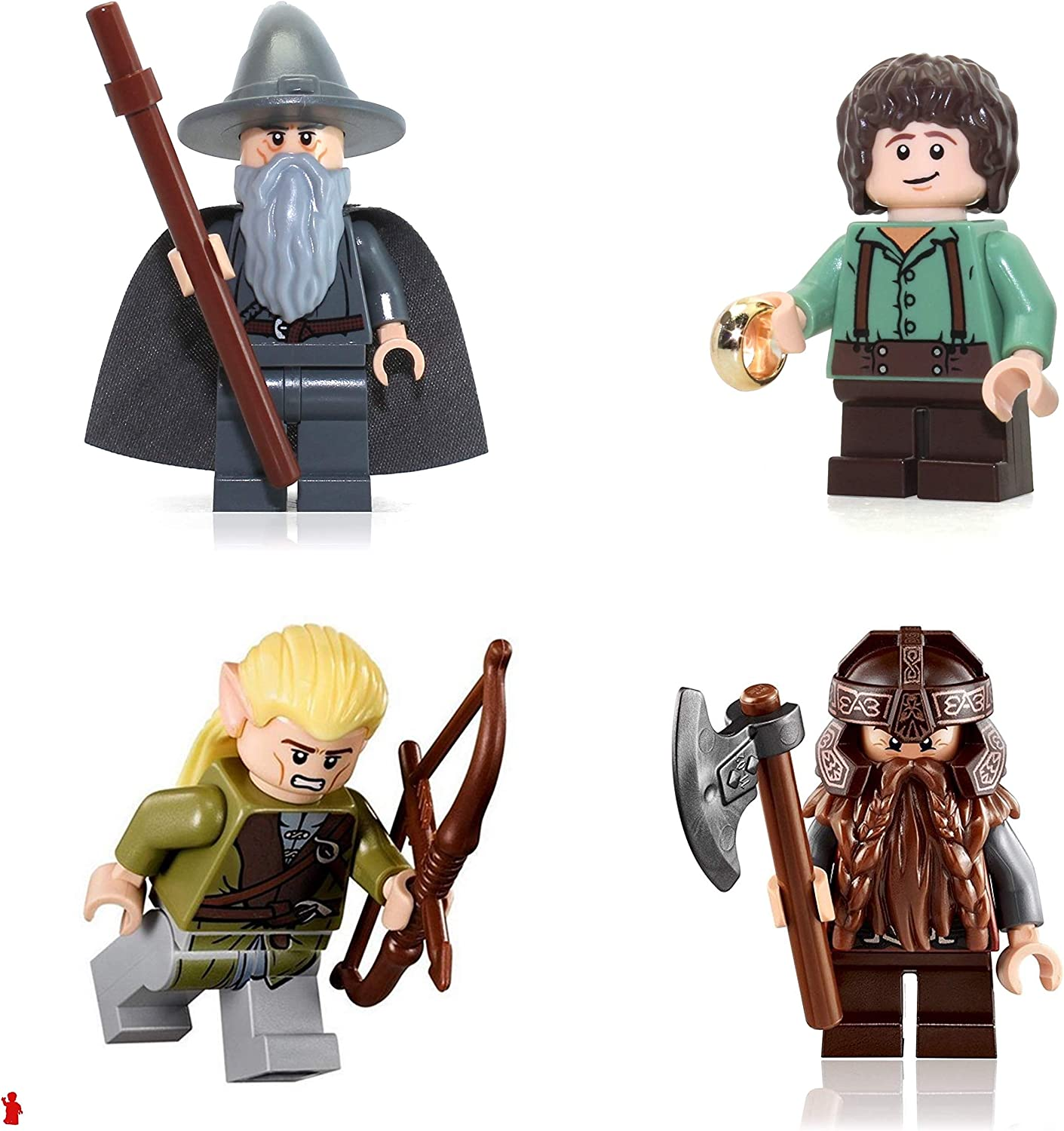 Lego the Lord of the Rings Minifigure Combo - Gandalf the Gray Wizard, Legolas, Gimli, and Frodo Baggins (With the One Ring)