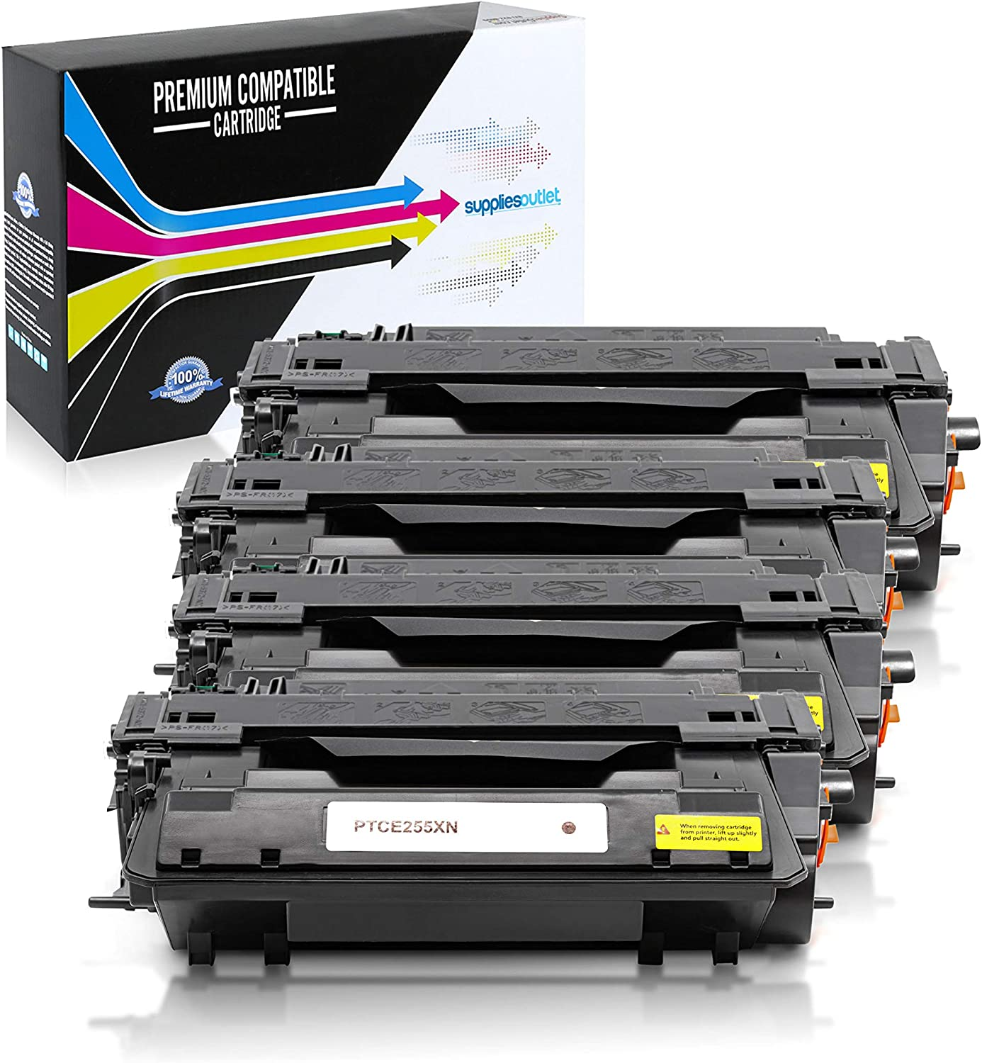 SuppliesOutlet Compatible Toner Cartridge Replacement for HP 55X Black,4 Pack CE255X