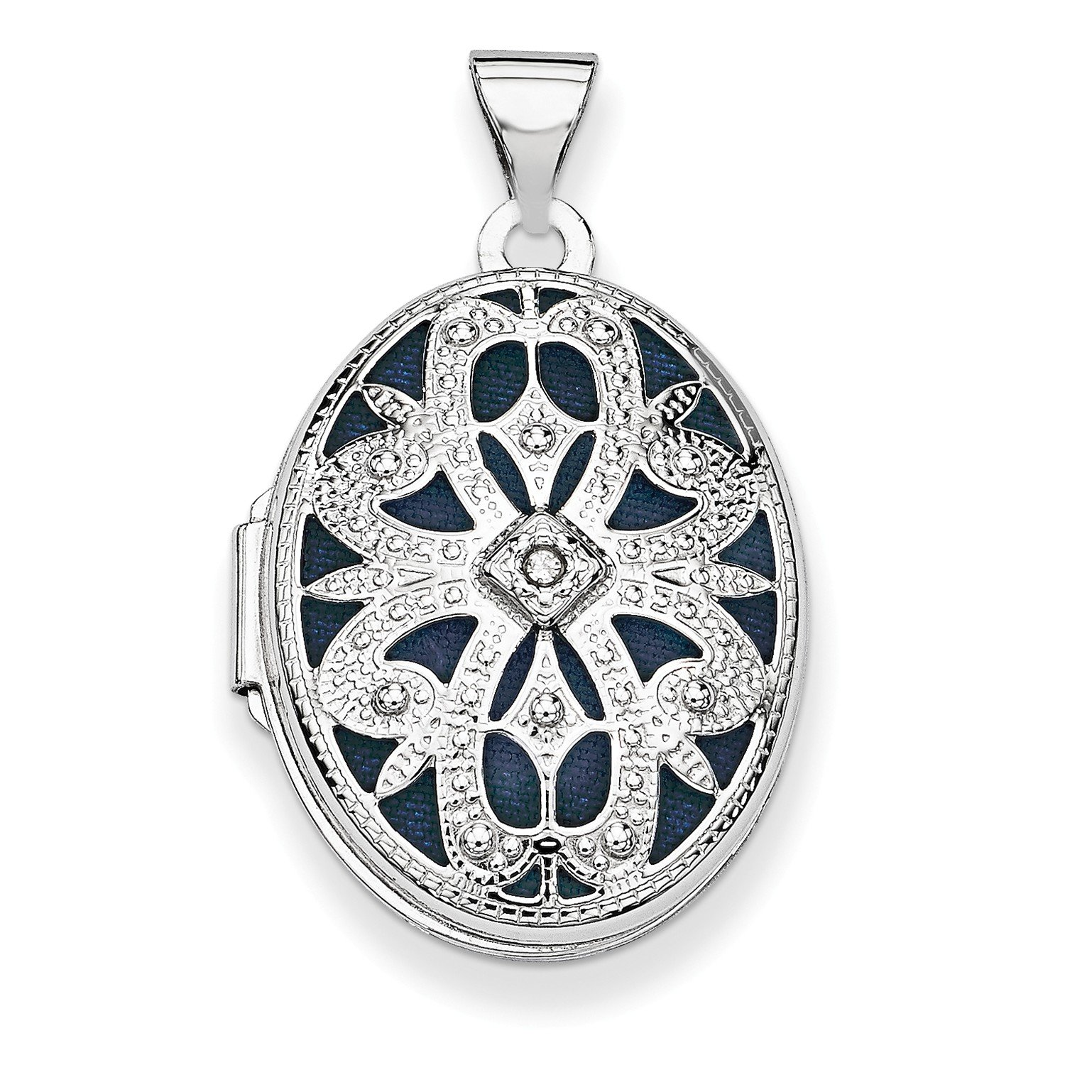 Roy Rose Jewelry 14K White Gold 21mm Oval w/Diamond Vintage Locket 30x21mm by Roy Rose Jewelry