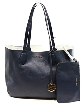 ca40b9350f88 Amazon.com: MICHAEL Michael Kors Womens Mae Leather Reversible Tote Handbag  Navy Large: Clothing
