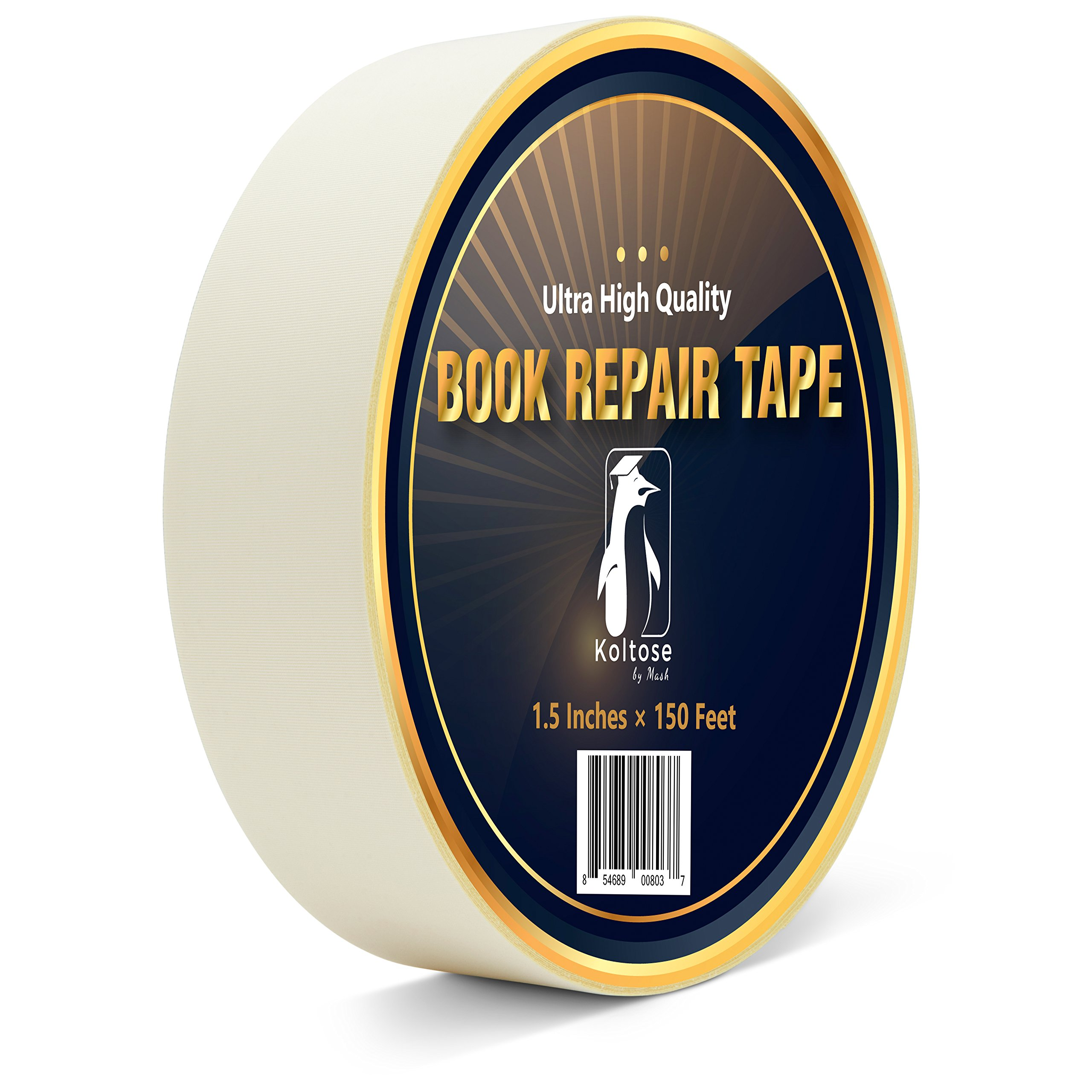 White Bookbinding Tape, Extra Long White Cloth Book Repair Tape for Bookbinders, 1.5 Inches by 150 Feet by Koltose by Mash