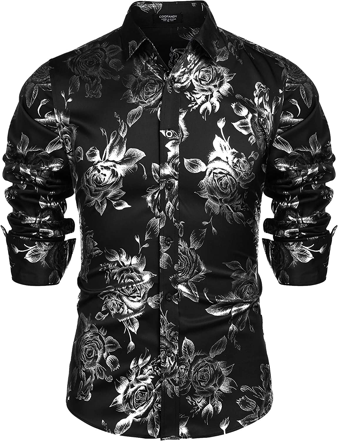 Details about  /COOFANDY Men/'s Rose Shiny Shirt Luxury Flowered Printed Button Down Shirt