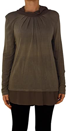 cb8fb78d811201 13317 PERANO Damen Pullover Strick Tunika Farbe Hell Braun Konfektionsgröße  36 38 40 Internationale Größe S M L