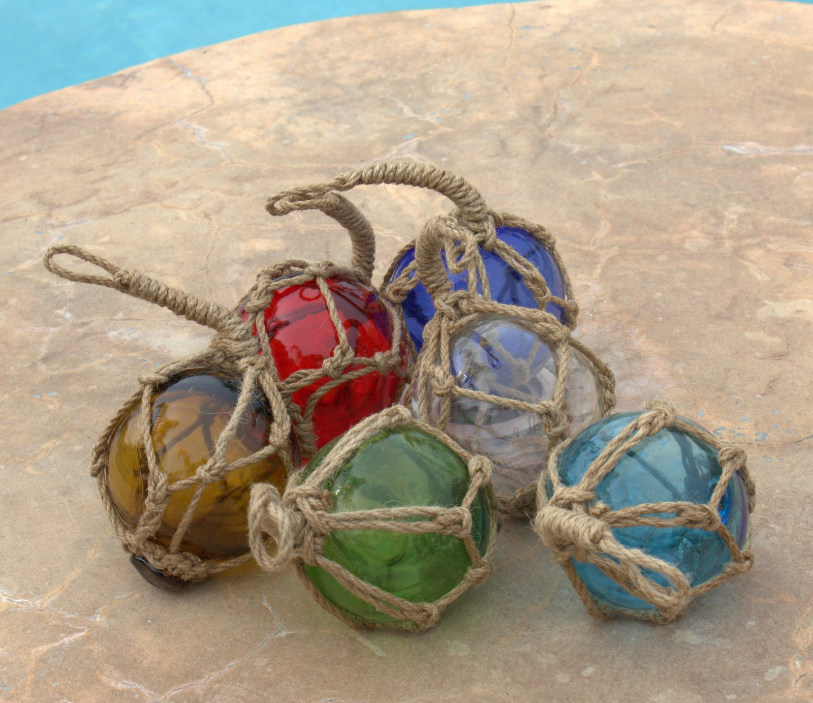 Japanese Glass Fishing Floats Fish Net Buoys Miniature Set of 6