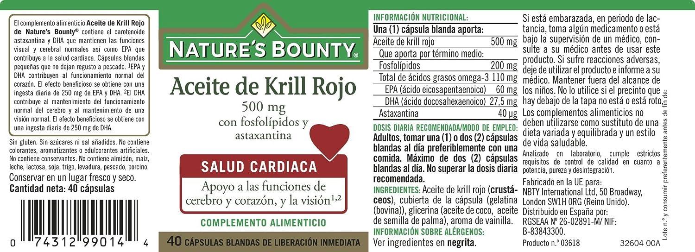 Natures Bounty Aceite de Krill Rojo 500 Mg con Fosfolípidos y Astaxantina - 40 Cápsulas: Amazon.es: Salud y cuidado personal