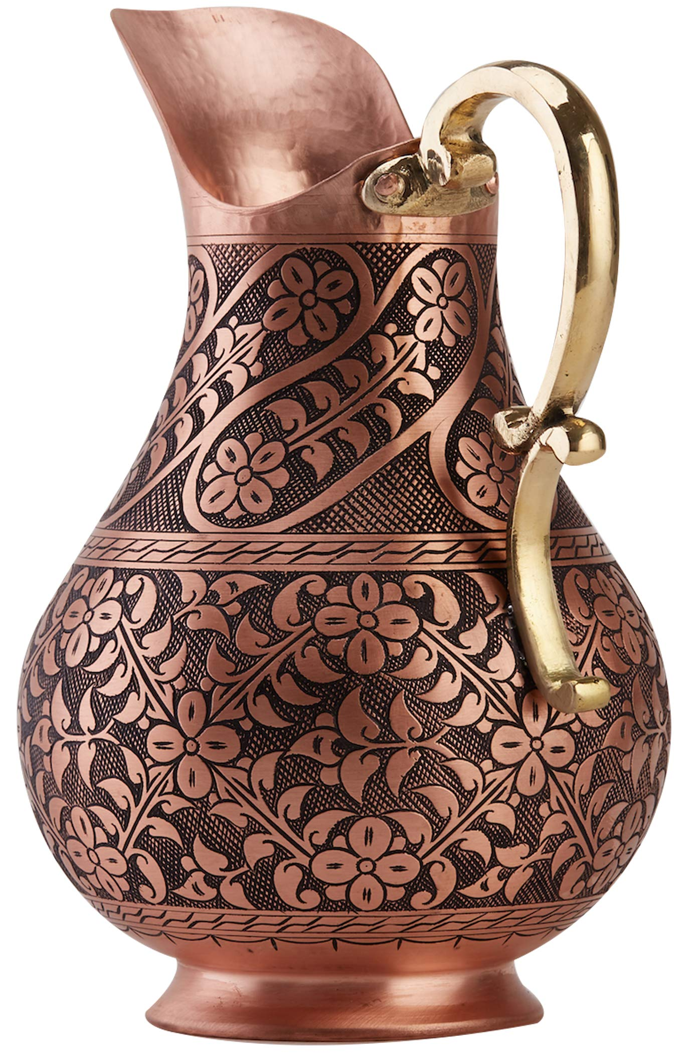 DEMMEX The Pitcher, 1mm Solid Copper Handmade Engraved Copper Pitcher Vessel Ayurveda Jug for Drinking Water, Moscow Mule, Cocktail (Matte-ArtWork) by DEMMEX (Image #2)