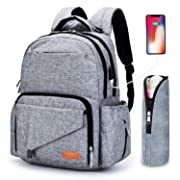 Ankommling Diaper Bag Backpack, Large Multi-Function Baby Diaper Bag for Travel, Big Waterproof Cloth Nappy Bags Organizer with USB Charging Port, Best for Moms, Dads, Girls and Boys