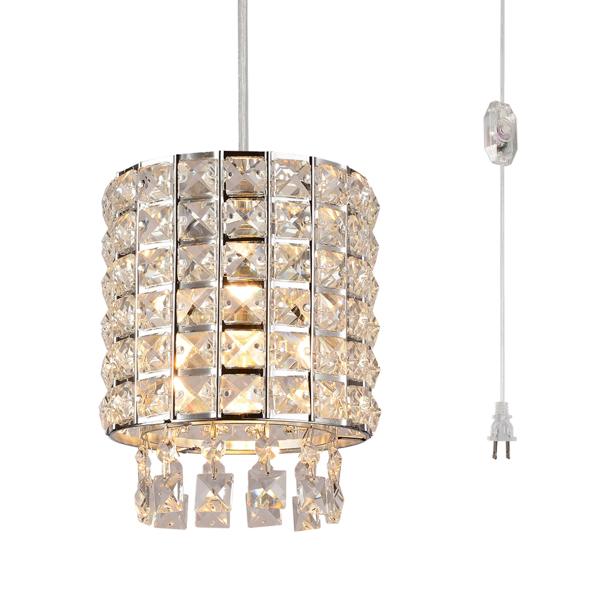 Plug in Modern Crystal Chandelier Swag Pendant Light with Clear 15' Cord and In-Line On/Off Dimmer Switch, Chrome Finish Cylinder Style
