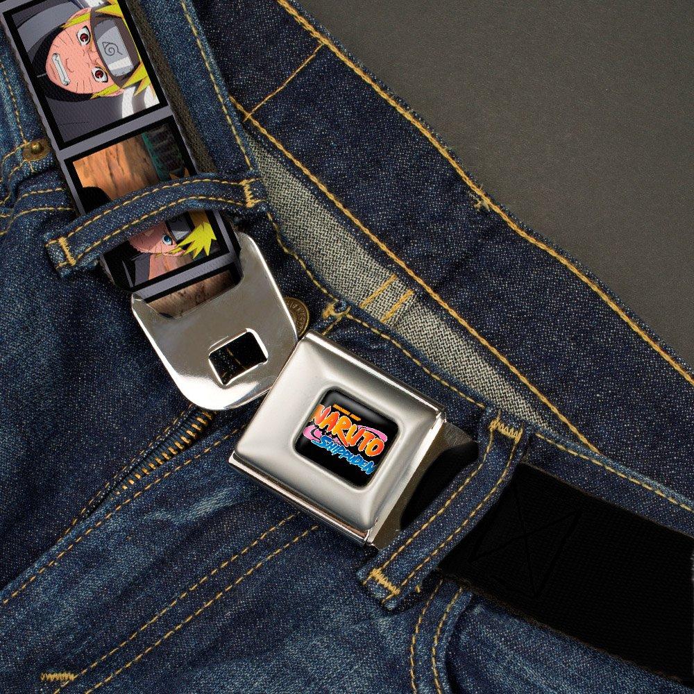 Multicolor Regular Buckle-Down Boys Naruto Blocks W//Logo Seatbelt Belt