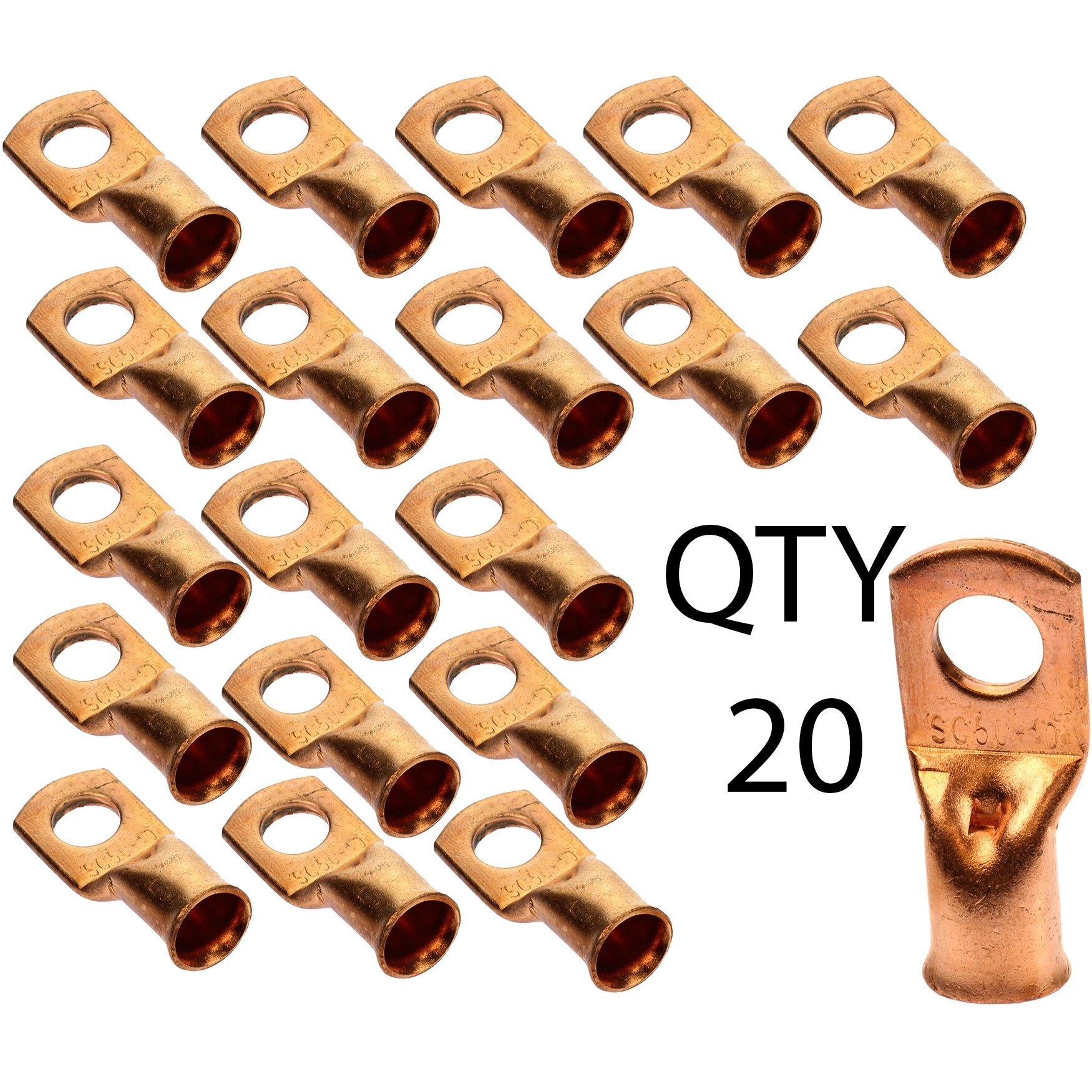 Voodoo 1/0 AWG Gauge 3/8'' Copper Crimp Ring Terminal Lug Qty 20 Pack