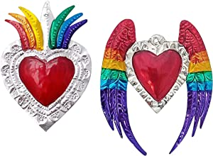 2 Ex Voto Sacred Heart | Hand Crafted Mexican Tin Art In Colorful Floral And Wings Design | Milagros Heart Metal Charms Set For Wall Decor (Has Hole To Hang)