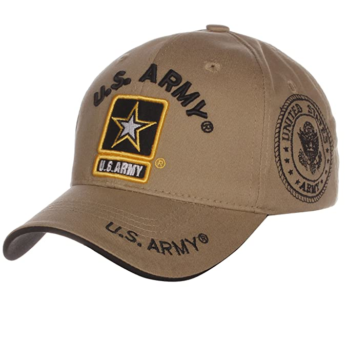 ff14e9822d7042 US Army Official License Structured Front Side Back and Visor Embroidered  Hat Cap (One Size