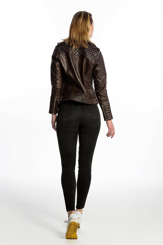 Rouge Wax-L Urban Leather 58 Veste de Moto pour Femmes avec Protections