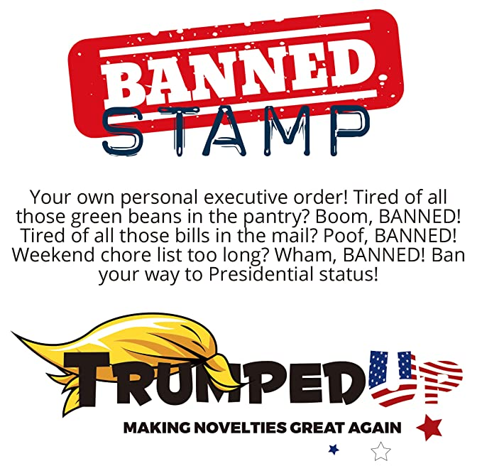 President Donald Trump Banned Stamp Red Color Political Novelty Joke Gag Gift